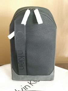 New Calvin Klein Bartley Pebbled Leather Sling Small Men's Black Backpack