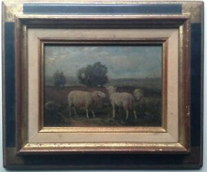 19th century Antique oil impressionist painting The sheep in a Landscape