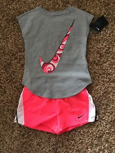 NWT Nike Girls Outfit Running Athletic Shorts T-shirt Pink White Gray Size 6