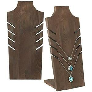 Set Jewelry Towers Of 2 Natural Wood Multiple Necklace Bust Display Stand Brown