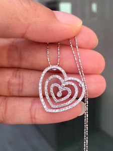 $1250 Beautiful 14K White Gold 35ctw Natural Diamond Heart Necklace 4.0g 18""