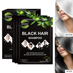 10 Pcs Black Hair Shampoo 5 Minutes Grey Fast Become Black Hair Color Hair Dying