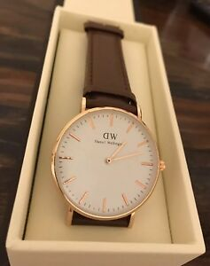 Daniel Wellington Mens St. Mawes Classic Brown & Gold Designer Wristwatch NWT