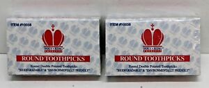 LOT of 2 Boxes 800 Poly King Round Double Pointed Wooden Toothpicks Eco Friendly
