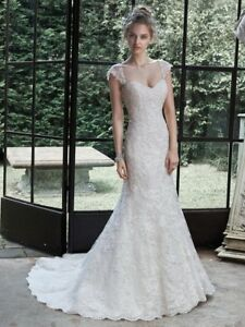 Maggie Sottero new white lace wedding dress gown sweetheart neckline size 8