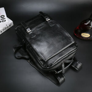 Men's Black Leather Travel Large Shoulders Bag Laptop Backpack Computer Notebook