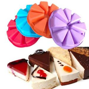 1PC 8 Cavity Silicone Scone Round Baking Pan Triangle Cake Making Mold BL