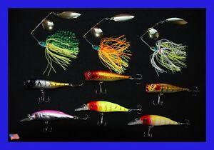 Assorted 9 New Fishing Lures Crankbait Top Water Popper Spinner bait