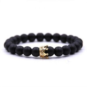 Gold amp; Black Crown Bracelet Beads Charms Stone Beads Men Jewelry