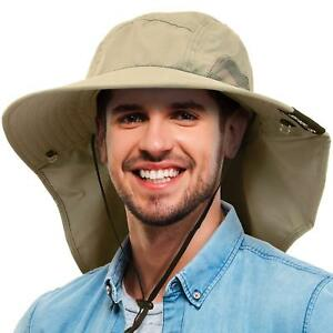 Tirrinia Mens Wide Brim Sun Hat with Neck Flap Fishing Safari Cap for Outdoor