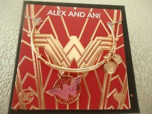 Alex and Ani WONDER WOMAN COLOR INFUSION Shiny Rose Bangle New W Tag Card Box $34.99