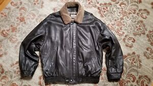 ROBERT COMSTOCK ENDURANCE DISTRESSED BROWN LEATHER BOMBER JACKET MEN'S 42 LARGE
