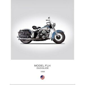 Poster Print Wall Art entitled HD Model FLH Duo Glide 1958