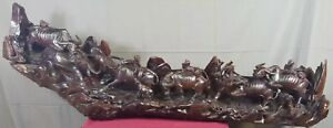 HUGE ANTIQUE VERY HEAVILY WOOD CARVED CHINESE SCULPTURE-NEARLY 6 FT LONG!!!