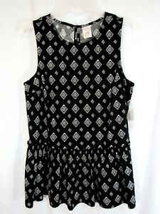 New Time and Tru Top Sz S 4 6 Black Triangles Pull Over Sleeveless Peplum  Work