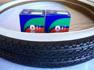 2 DURO White Wall Tires Tubes + RIM STRIPS 26