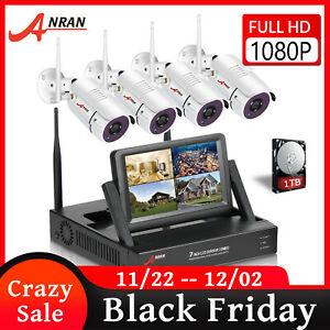 1080P Wireless Outdoor Security Camera System WIFI 7''LCD Monitor 1TB HD 4CH NVR