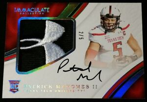 UNDER ARMOUR RC AUTO 5 2017 PATRICK MAHOMES II Immaculate RPA #129 ROOKIE PATCH