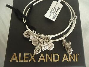 ALEX AND ANI SIDE BY SIDE OTTERS SET OF 2 Russian Silver Bangles W Card amp; Box $35.19
