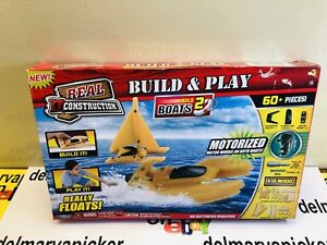 Real Construction Build & Play Motorized Boats Kid Wood Floats 60+ Pcs + Tools
