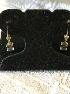 Estate 14k Yellow Gold Natural Blue Topaz RECT. Lever Back Ladies Earrings-1.7GR