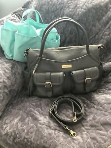 EUC Lily Jade Elizabeth Leather Gray Diaper Bag Backpack Gold Hardware