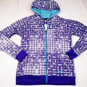 Under Armour Womens Hoodie Purple White Triangle Camo Full Zip Size SM