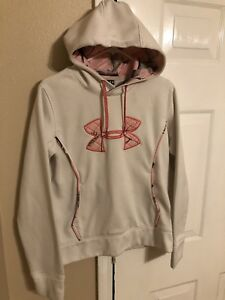 Womens Under Armour Real Tree White Camo Lining Pullover Hoodie Size Medium