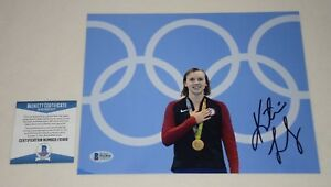 OLYMPICS GOLD MEDALIST KATIE LEDECKY SIGNED AUTOGRAPHED 8x10 PHOTO BAS F61816