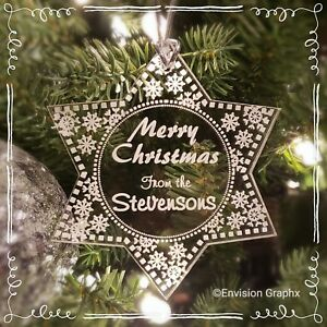 Personalized Custom Engraved Acrylic Snowflake Delight Christmas Ornament