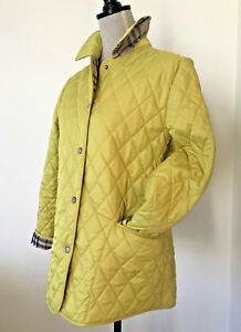 Authentic BURBERRY Quilted Classic Yellow Jacket Small Womens