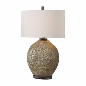 Pitted Gold Bronze Ceramic Table Lamp  Modern Oval Mid Century Textured
