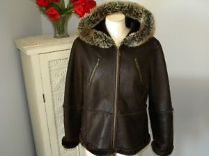 WOMEN'S GIACCA 5 STAR OUTERWEAR BROWN FAUX LEATHER HOODIE JACKET - SZ XL