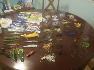 Huge Lot of 66 Bass Fishing Lures! Plastics Swimbaits Jigs Frogs and More!