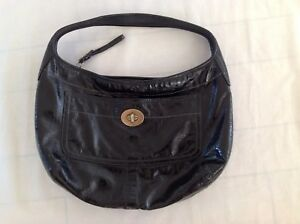 COACH Turnlock Ergo Shiny Black Patent Leather Large - Hobo Bag Purse 11009