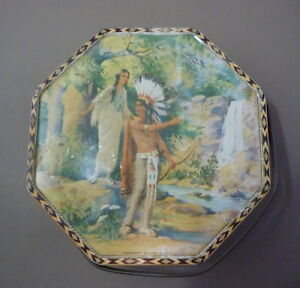 Loose-Wiles Biscuit Tin HIAWATHA'S WEDDING JOURNEY Great Graphics Very Good Cond