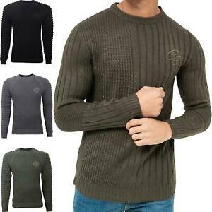 Mens Crosshatch Jumper Knitwear Sweater Top Pullover Knitted Crew Neck Ribbed