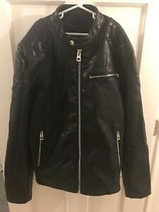 GUESS Motorcycle Jacket Faux Leather BLACK size Men's Small Moto