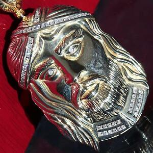 14k yellow gold pendant 2.25ct diamond Jesus face charm large handmade 46g C-28