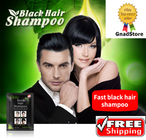 10 Pcs Fast Black Hair Darkening Shampoo Only 5 minutes White Become Black Hair