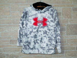 Boy's Under Armour Storm Big Logo gray red Camo Fleece Pullover Hoodie Size YLG