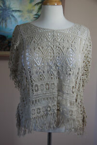 Lacy Knit Overlay sleeveless top Beige No Size $12.95