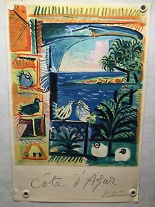 Original 1962 Cote D'Azur Lithograph - French Travel Poster by Pablo Picasso