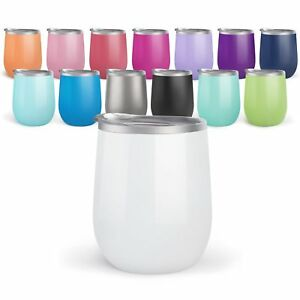 4 pack Bev Steel Stemless Wine Tumbler, 12 oz | Double Wall Vacuum Insulated