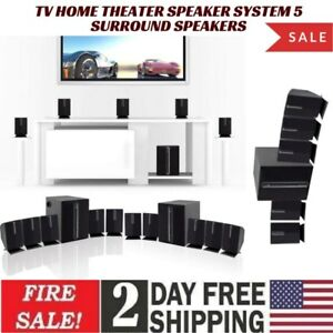 Tv Home Theater Speaker System 5 surround speakers and a subwoofer Bass controls