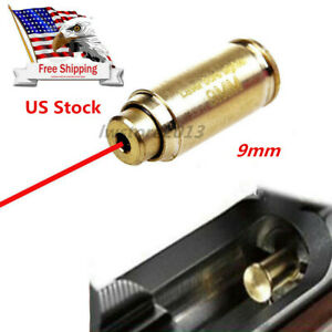 US Brass CAL 9mm Red Laser Bore Sight Cartridge Bullet Shap Boresighter Battery