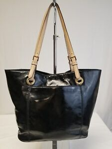 MICHAEL KORS BLACK PATENT LEATHER JET SET SHOULDER BAG HANDBAG TOTE