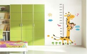 Kids Height Chart Wall Sticker Cartoon Giraffe Removable Home Decor Decal Art