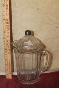 VTG.1940'S HEAVY GLASS COCKTAILBEV. PITCHER W SHAKER LID RARE FIND