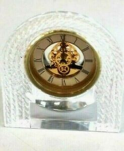 Beautiful Hoya Lofty Fine Crystal Skeleton Mantel Desk Clock Rope Design NOS